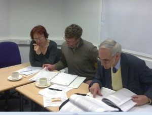 Union officers study the new HE Negotiating Pack