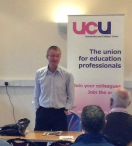 Dave O'Toole, new Organiser at the UCU Exeter office